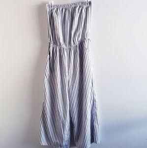 BLUSH Strapless Striped Jumpsuit